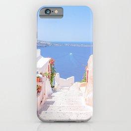Santorini Greece Mamma Mia pink street travel photography iPhone Case