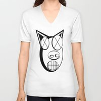 pig V-neck T-shirts featuring pig. by azyxz