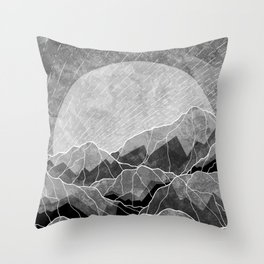 Mountains of silver and grey Throw Pillow