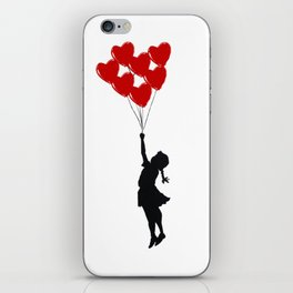 Girl With Heart Balloons iPhone Skin