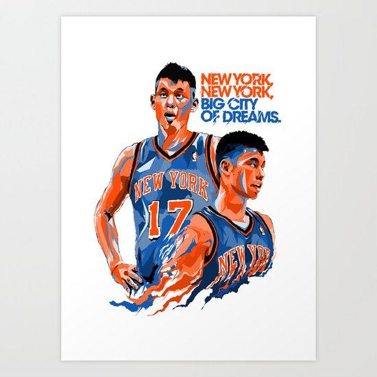 Jeremy Lin: New York, New York, Big City of Dreams. Art Print