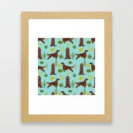 Irish Setter cactus southwest desert dog breed cute gift for dog lover pupper portrait pattern gifts Framed Art Print