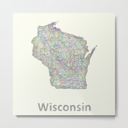Wisconsin map Metal Print