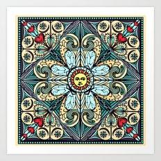 Vintage Style Sun Mandala Art Print