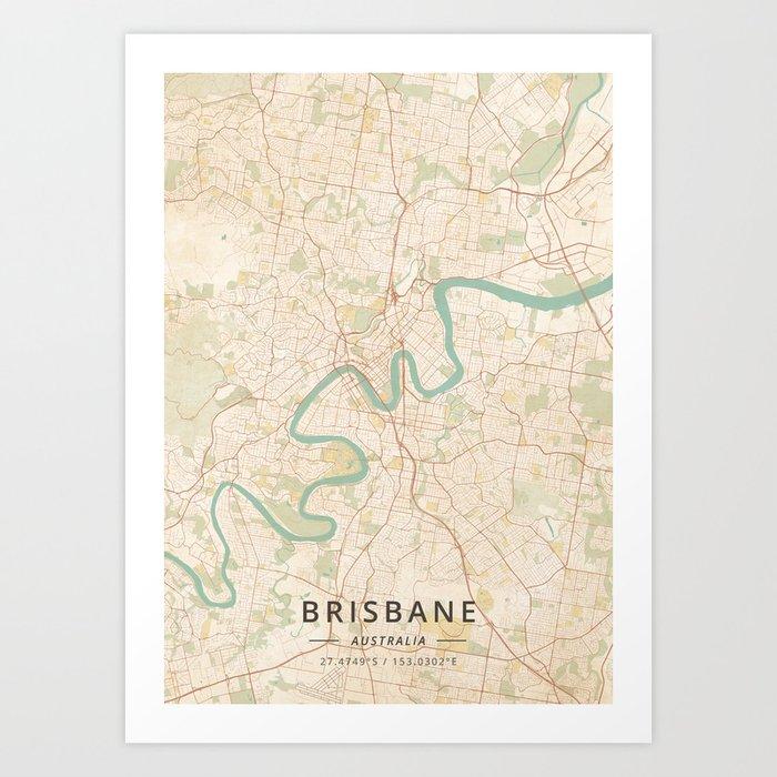 Brisbane, Australia - Vintage Map Kunstdrucke