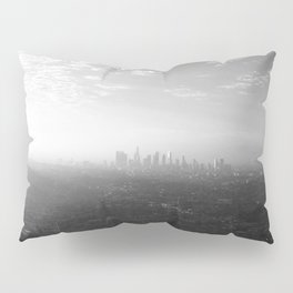 Los Angeles. L.A. Skyline. Black and White. Jodilynpaintings. Sunrise. Sunset. Cityscape. California Pillow Sham