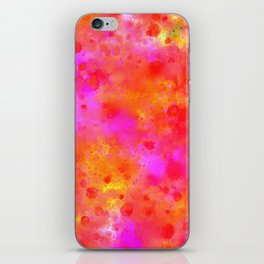 Watercolor Painting Bright Red & Summer Pink Abstract Paint Splashes iPhone Skin