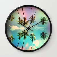 palm trees Wall Clocks featuring Palm trees  by mark ashkenazi