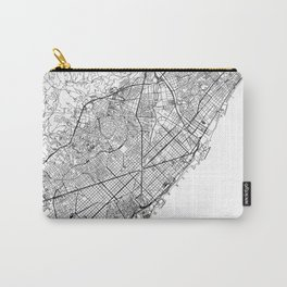 Barcelona White Map Carry-All Pouch