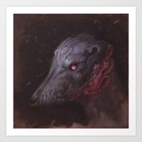 the hound Art Prints featuring Blue Hound by Atelierbetriebe Allison Sommers