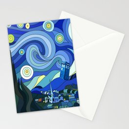 Tardis Art Starry Night Stationery Cards