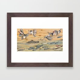 Swamp Life: Alligator and Chickadees Framed Art Print