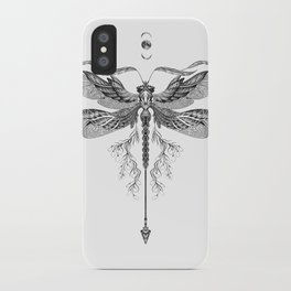 Dragon Fly Tattoo Black and White iPhone Case