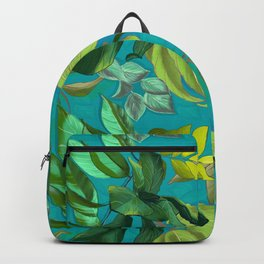 Green tropical heaven turquoise background  Backpack