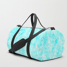 White winter forest- With snow covered trees- pattern on teal Duffle Bag