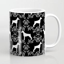Doberman Pinscher floral silhouette black and white minimal basic dog breed pattern art Coffee Mug
