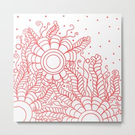 Doodle Art Three Flowers Vines – White and Red Metal Print