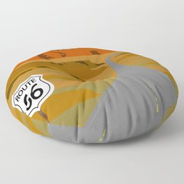 Route 66 Highway Illustration Floor Pillow