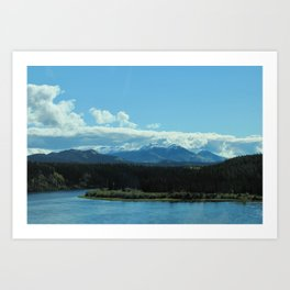 Mountains by the River Art Print