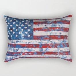 Distressed American Flag vertical hang Rectangular Pillow