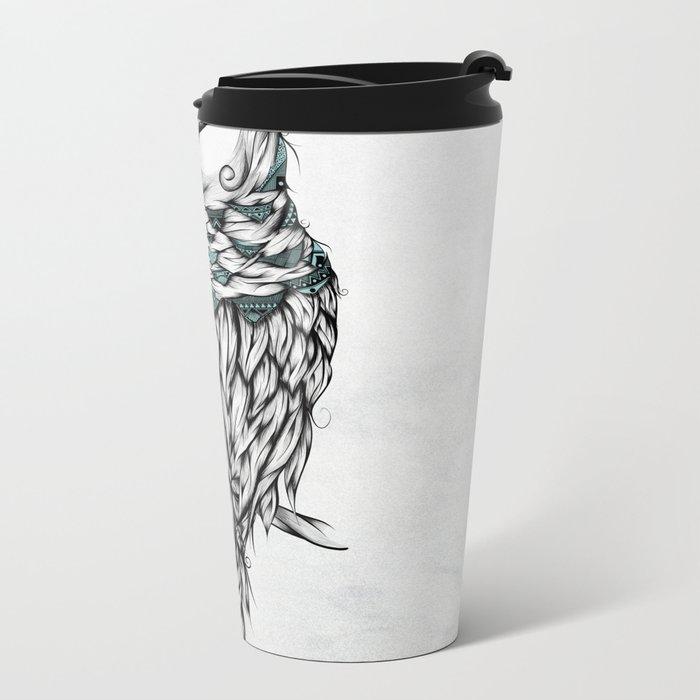 Poetic Snow Owl Metal Travel Mug