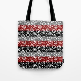 Circles and rings on striped background . Tote Bag
