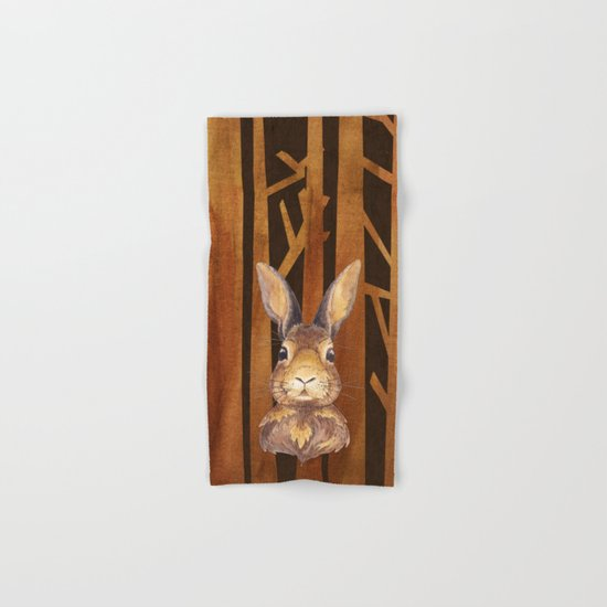 Rabbit in the forest- abstract watercolor illustration Hand & Bath Towel