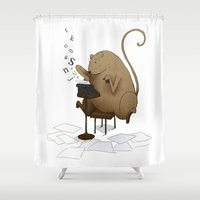 letters Shower Curtains featuring MOUSEY LETTERS by wbean
