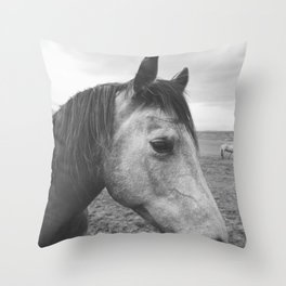 Horse Print in Black and White Throw Pillow