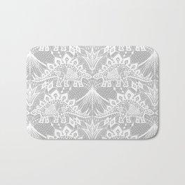 Stegosaurus Lace - White / Silver Bath Mat