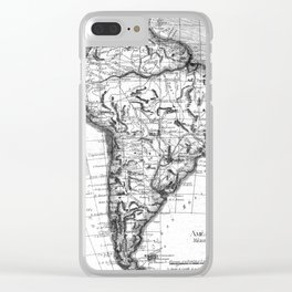 Vintage Map of South America (1780) BW Clear iPhone Case