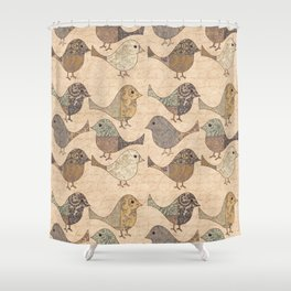 Nostalgic Autumn Patchwork Bird Pattern in warm retro colors #autumndecoration Shower Curtain