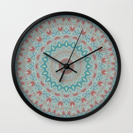 Tribal Medallion Teal Wall Clock