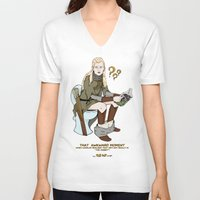 legolas V-neck T-shirts featuring That Awkward Moment by Pat Pot Designs