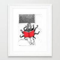 reading Framed Art Prints featuring Reading by stardixa