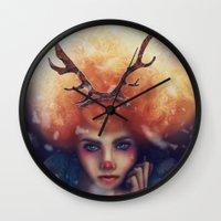 helen green Wall Clocks featuring Helen by Joan Culum