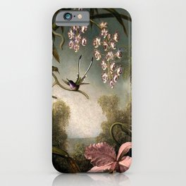 Orchids and Spray Orchids with Hummingbird by Martin Johnson Heade iPhone Case