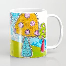 Mushroom Mixed Media Painting in Dyan Reaveley Style with Bright and Vibrant Colors Coffee Mug