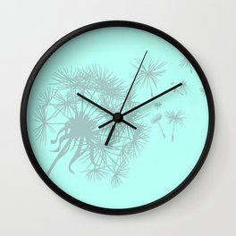 Soft Mint Green and Gray Dandelion Wall Clock