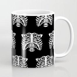 Human Rib Cage Pattern Black and White Coffee Mug