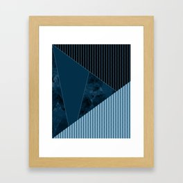 Valencia 3. Abstract, black, blue geometric pattern. Framed Art Print