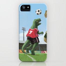 cartoon dinosaurs playing football iPhone Case