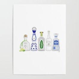 Tequila Bottles Illustration Poster