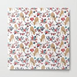 Darling Deer on White Metal Print