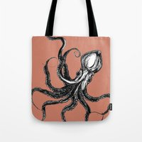 squid Tote Bags featuring Squid  by Aubree Eisenwinter