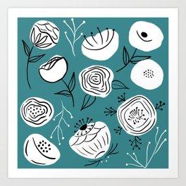 Folk flowers on lagoon Art Print