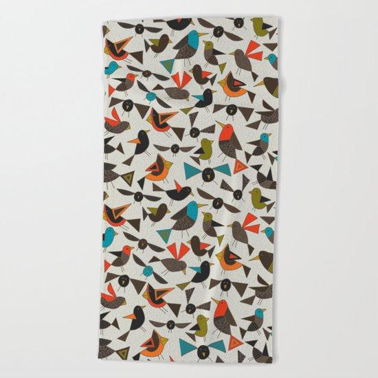 just birds china white Beach Towel