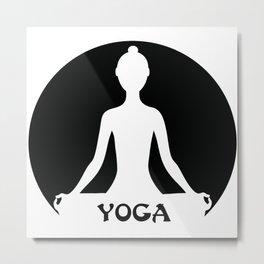 Yoga silhouette illustration Metal Print