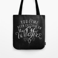 lyrics Tote Bags featuring LYRICS - Wildfire by Molly Freze