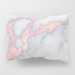 Rosegold Pink on Gray Marble Metallic Foil Style Pillow Sham
